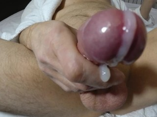 Masturbation Hand Work Off Cum Shaved Dick And Cock