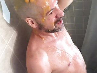 Eggs Cracked On Bald Head For A Naked Messy Wank
