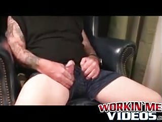 Inked Mature Guy Tugging And Stroking His Dick Solo